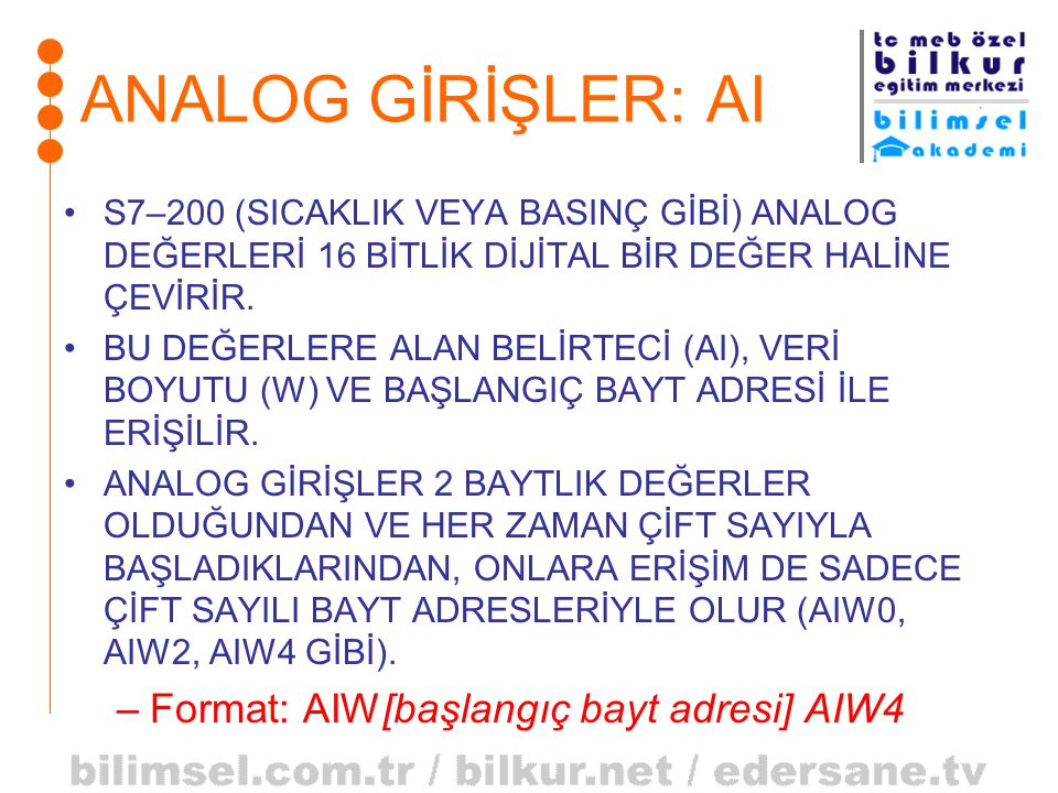 ANALOG GİRİŞLER: AI Format: AIW[başlangıç bayt adresi] AIW4